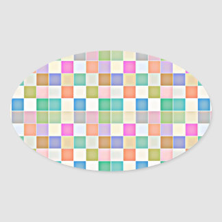 Abstract Square Multicolored Mosaic Oval Sticker