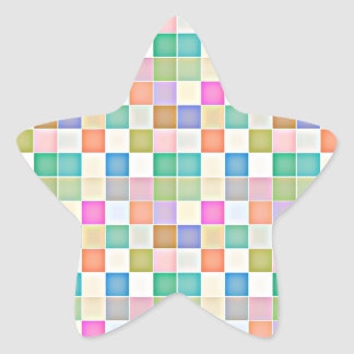 Abstract Square Multicolored Mosaic Star Sticker