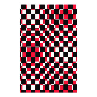 Abstract Square red black and white Personalized Stationery