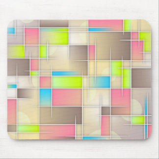 Abstract squares, grids, pink, brown, lime, beige. mouse pad