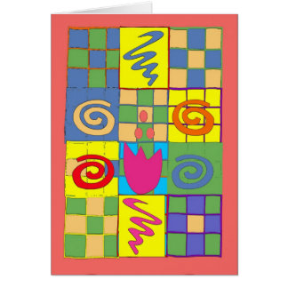 Abstract Squares on Quilt Card