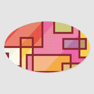 Abstract Squares Pop Art Oval Sticker