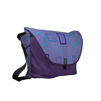 Abstract Squares Purple Messenger Bag