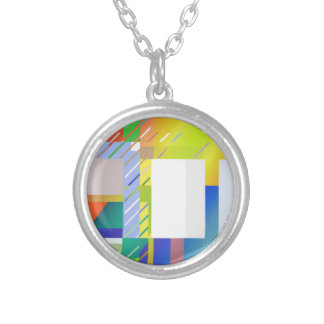 Abstract Squares Silver Plated Necklace