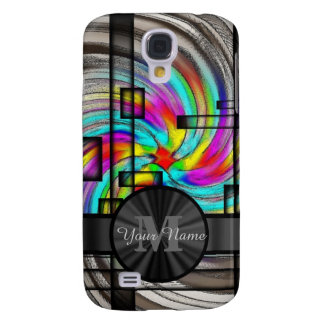 Abstract stained glass and monogram samsung galaxy s4 case