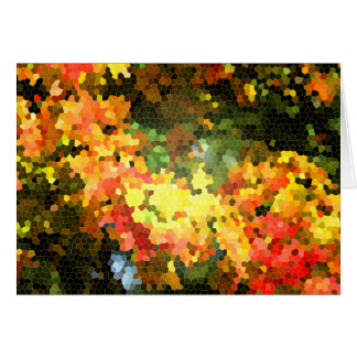 Abstract Stained Glass Autumn Maple Leaves Orange Greeting Card