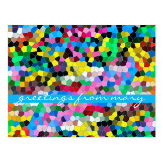 Abstract Stained Glass Colorful Blue Pink Mosaic Postcard