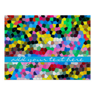 Abstract Stained Glass Colorful Blue Pink Mosaic Poster