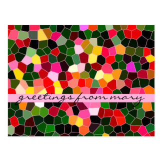 Abstract Stained Glass Colorful Green Pink Mosaic Postcard