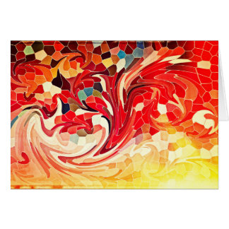 Abstract Stained Glass Firebirds Fiery Red Yellow Card
