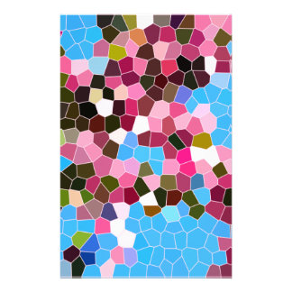 Abstract Stained Glass Pink Dark Green Blue Mosaic Personalised Stationery