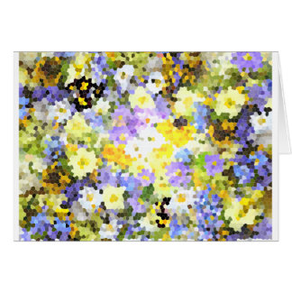 Abstract Stained Glass Spring Flower Yellow Violet Greeting Card