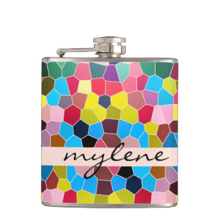 Abstract Stained Glass Vivid Rainbow Candy Mosaic Flasks