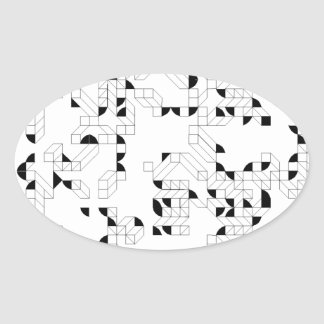 Abstract Stamp Oval Sticker