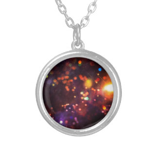 Abstract Starry Background 4 Silver Plated Necklace