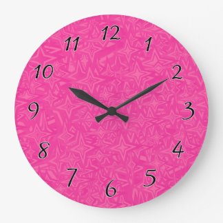 Abstract Stars in Hot Pink Large Clock