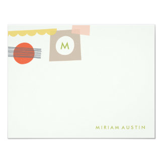 Abstract Stationery - Lime 11 Cm X 14 Cm Invitation Card