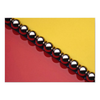 Abstract Steel balls on red and yellow acrylic 13 Cm X 18 Cm Invitation Card