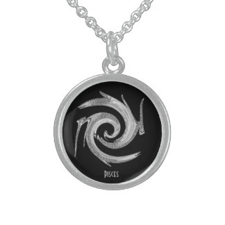 Abstract Sterling Silver Pisces Zodiac Locket