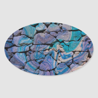 Abstract Stones blue Oval Stickers