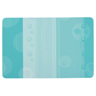 Abstract Stripe Nautical Modern Light Blue Floor Mat
