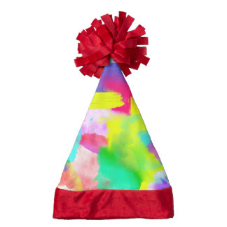 Abstract Stripes Neon Artistic Watercolor Pattern Santa Hat