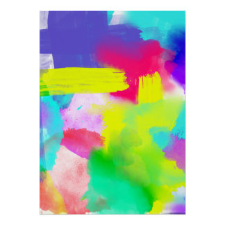 Abstract Stripes Neon Artistic Watercolor Pattern Poster