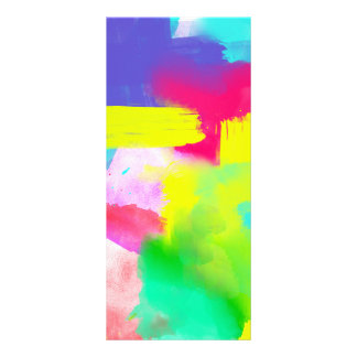 Abstract Stripes Neon Artistic Watercolor Pattern Rack Card Template