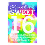 Abstract Stripes Neon Watercolor Pattern Sweet 16 Custom Invites