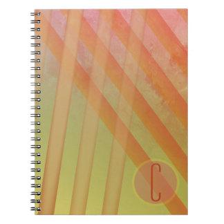 Abstract Stripes/Yellow & Warm Hues/monogram Notebook