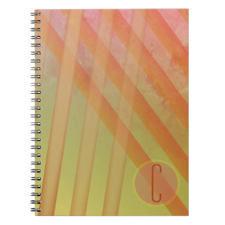 Abstract Stripes/Yellow & Warm Hues/monogram Notebooks