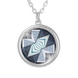 Abstract Structural Collage Silver Plated Necklace