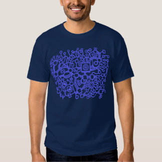 Abstract Structure - Electric Blue on Dark Tee Shirt