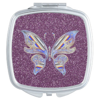 Abstract Stylish Butterfly On Purple Glitter Vanity Mirrors