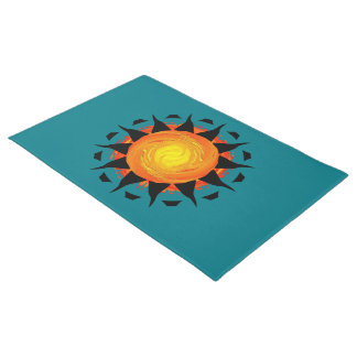 Abstract Sun Flower Doormat