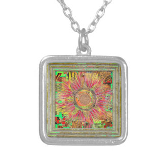 Abstract Sun Silver Plated Necklace