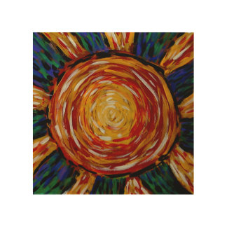 Abstract Sunburst Colors In Motion Wood Print