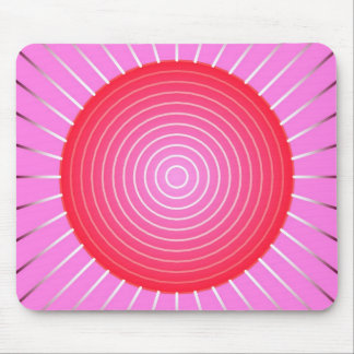 Abstract sunburst in coral, pink and silver mouse pad
