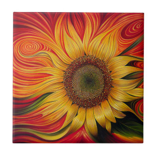 Abstract Sunflower Tile