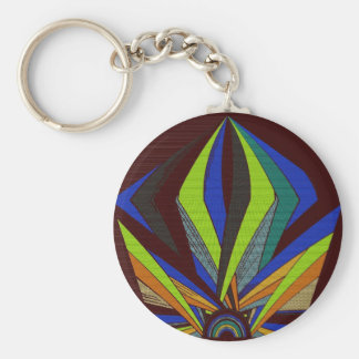 Abstract Sunset Basic Round Button Key Ring