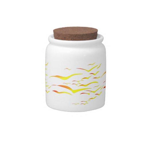 Abstract Sunset Birds Candy Jar