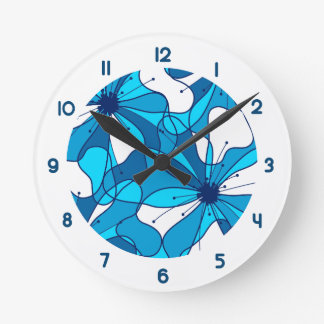 Abstract surf hibiscus round clock