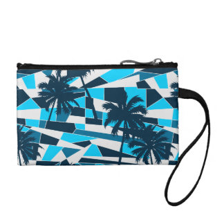 Abstract surf palm trees coin purse