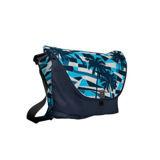 Abstract surf palm trees courier bag
