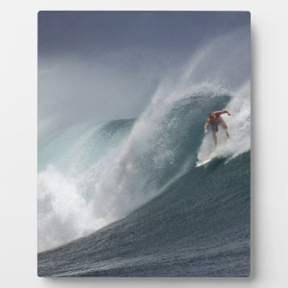 Abstract surfing sea wave plaque