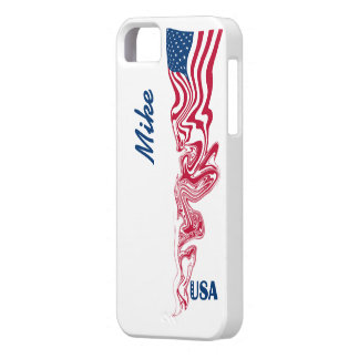 Abstract Swirl American Flag Navy Blue USA Stars iPhone 5 Cases