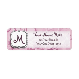 Abstract Swirl Floral Lavender Grapes and Monogram Return Address Label