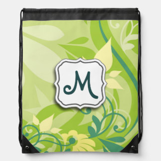 Abstract Swirl Floral Lime Green with Monogram Cinch Bag