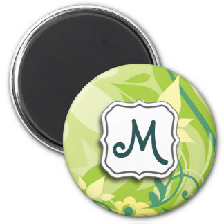 Abstract Swirl Floral Lime Green with Monogram Fridge Magnet