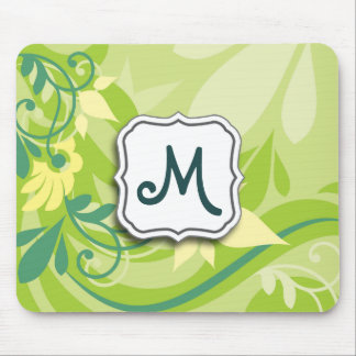Abstract Swirl Floral Lime Green with Monogram Mouse Pad